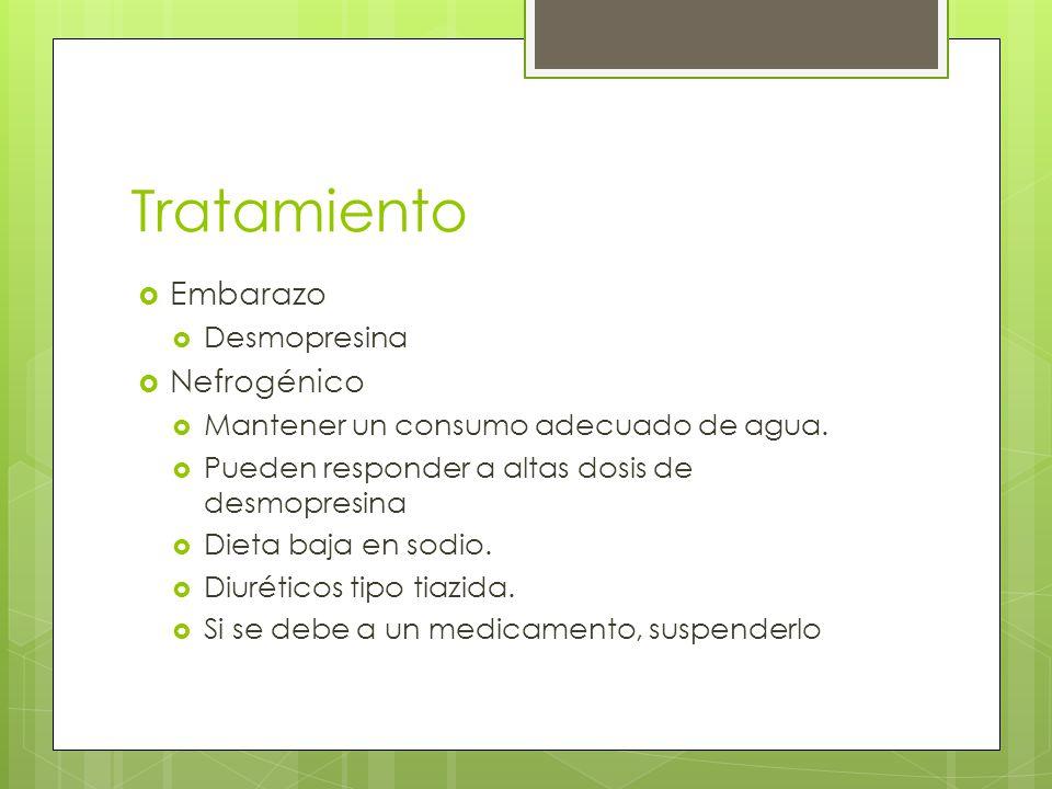 Tratamiento Embarazo Desmopresina Nefrogénico Mantener un consumo adecuado de agua. Pueden responder a altas dosis de desmopresina Dieta baja en sodio