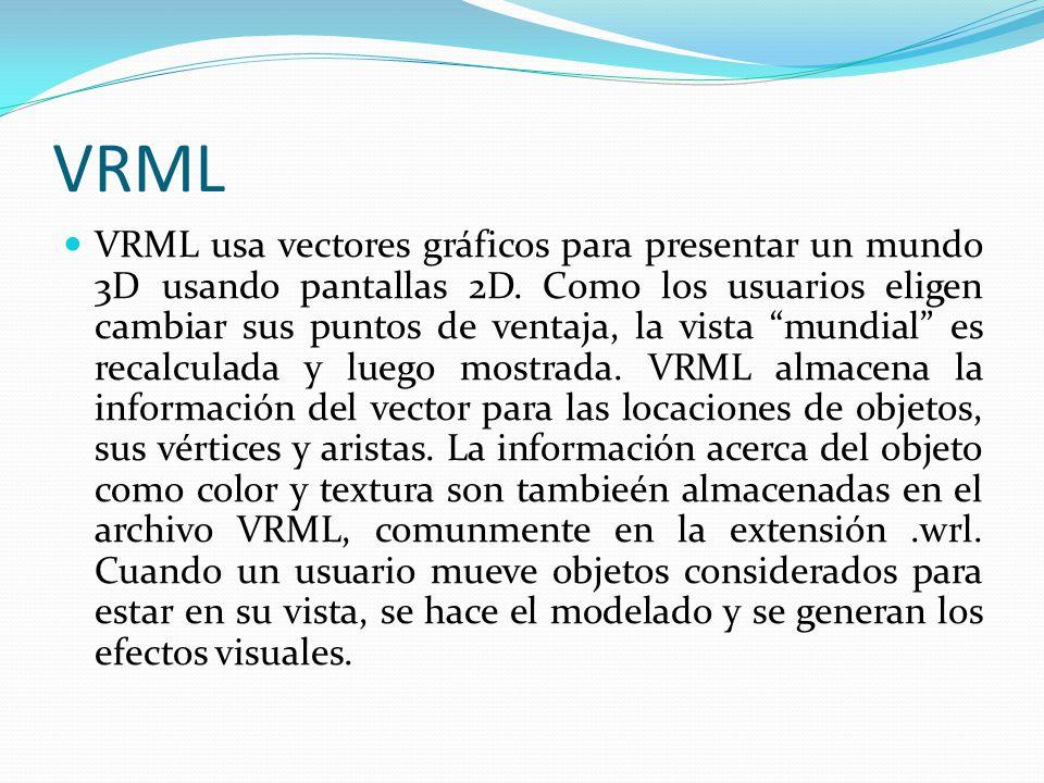 VRML VRML usa vectores gráficos para presentar un mundo 3D usando pantallas 2D. Como los usuarios eligen cambiar sus puntos de ventaja, la vista mundi