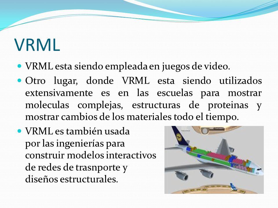 VRML VRML esta siendo empleada en juegos de video. Otro lugar, donde VRML esta siendo utilizados extensivamente es en las escuelas para mostrar molecu