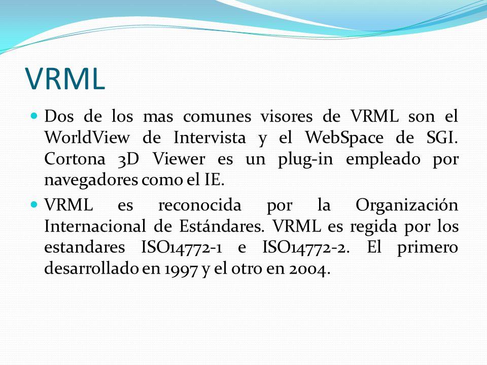 VRML Dos de los mas comunes visores de VRML son el WorldView de Intervista y el WebSpace de SGI. Cortona 3D Viewer es un plug-in empleado por navegado