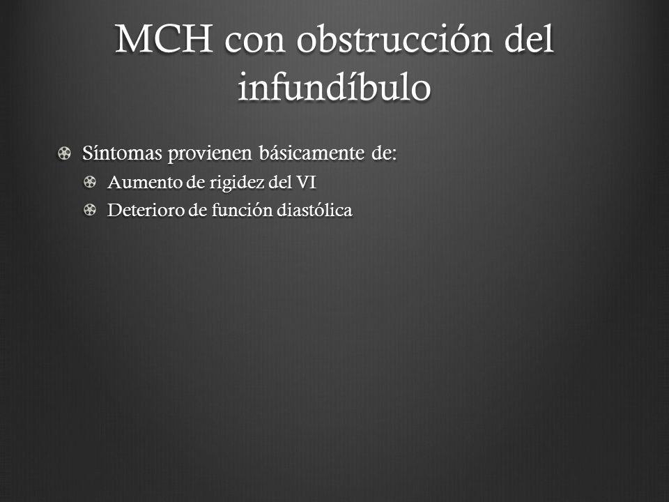 MCH con obstrucción del infundíbulo Síntomas provienen básicamente de: Aumento de rigidez del VI Deterioro de función diastólica