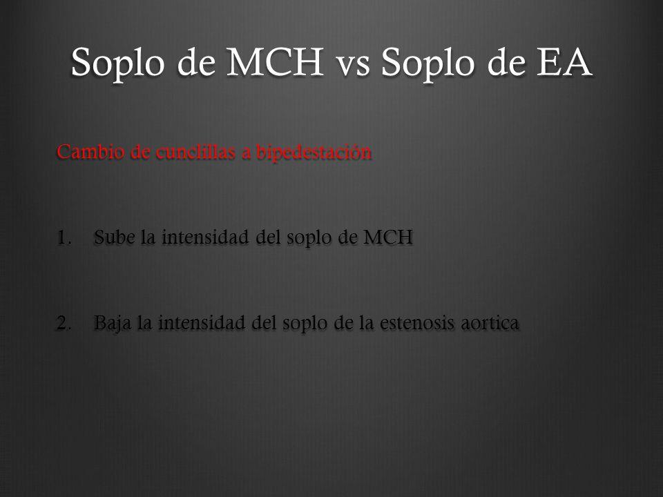 Soplo de MCH vs Soplo de EA Cambio de cunclillas a bipedestación 1.Sube la intensidad del soplo de MCH 2.Baja la intensidad del soplo de la estenosis