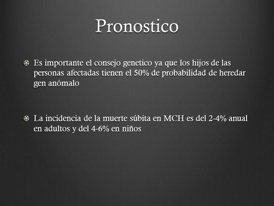 Pronostico Es importante el consejo genetico ya que los hijos de las personas afectadas tienen el 50% de probabilidad de heredar gen anómalo La incide
