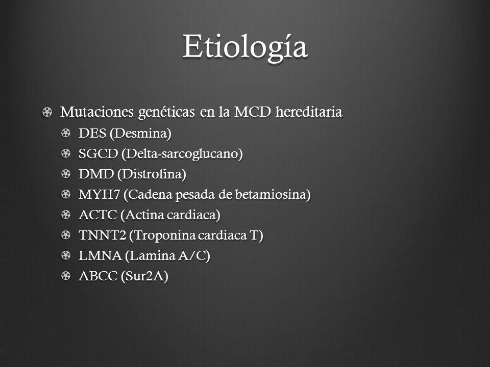 Etiología Mutaciones genéticas en la MCD hereditaria DES (Desmina) SGCD (Delta-sarcoglucano) DMD (Distrofina) MYH7 (Cadena pesada de betamiosina) ACTC
