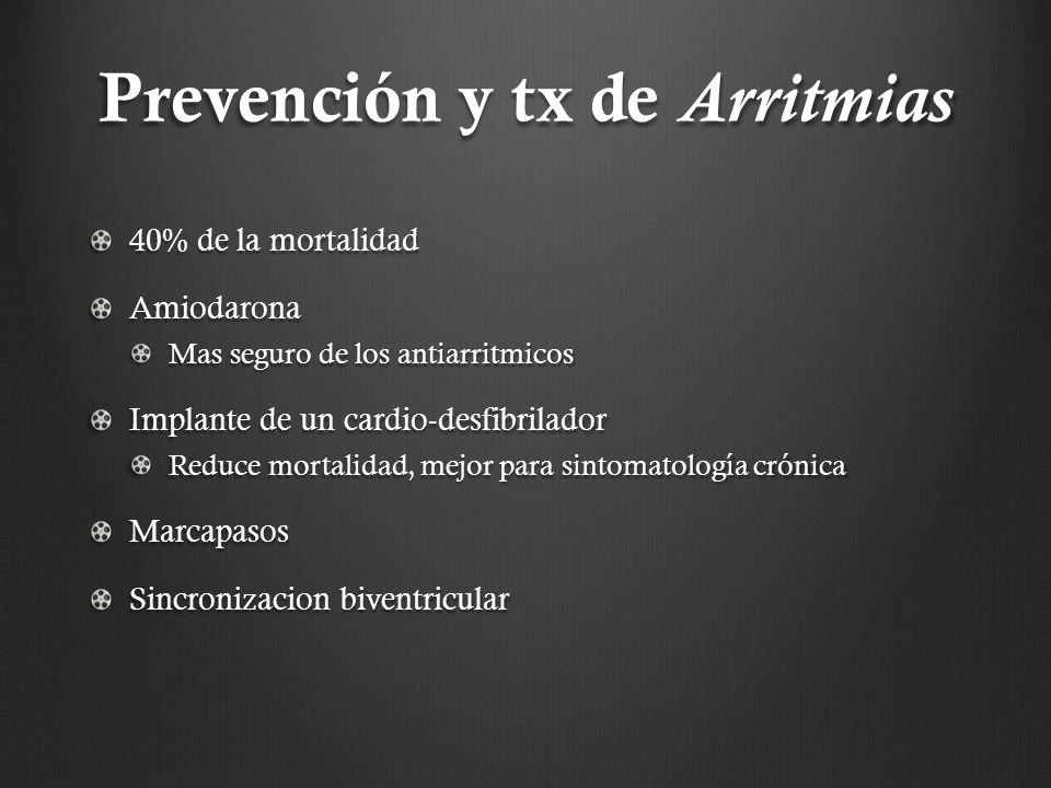 Prevención y tx de Arritmias 40% de la mortalidad Amiodarona Mas seguro de los antiarritmicos Implante de un cardio-desfibrilador Reduce mortalidad, m