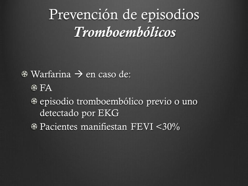 Prevención de episodios Tromboembólicos Warfarina en caso de: FA episodio tromboembólico previo o uno detectado por EKG Pacientes manifiestan FEVI <30
