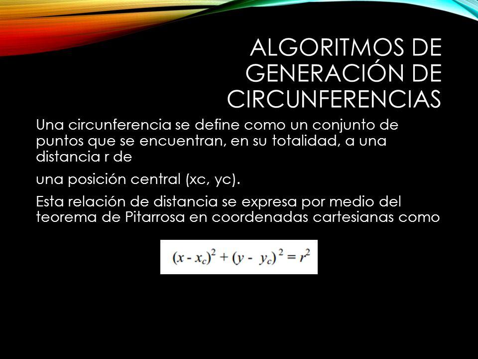ALGORITMOS DE GENERACIÓN DE CIRCUNFERENCIAS Una circunferencia se define como un conjunto de puntos que se encuentran, en su totalidad, a una distancia r de una posición central (xc, yc).