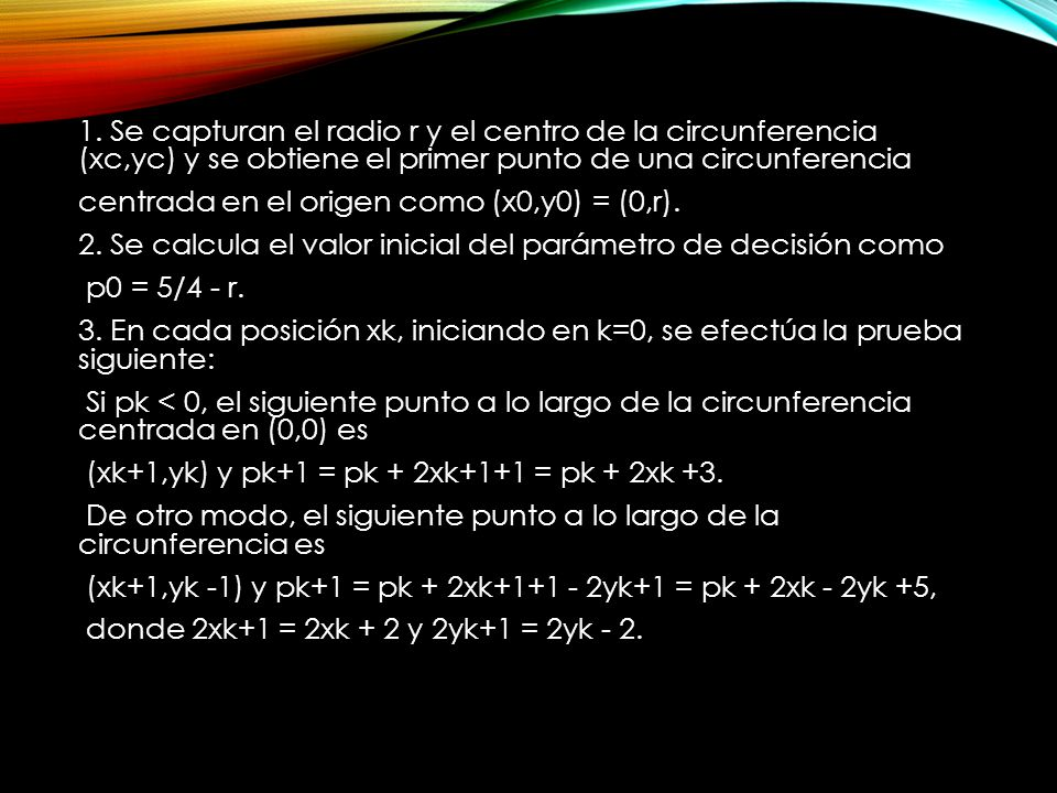 4.Se determinan puntos de simetría en los siete octantes.