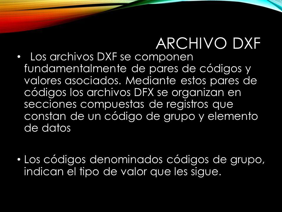 ARCHIVO DXF Los archivos DXF se componen fundamentalmente de pares de códigos y valores asociados.