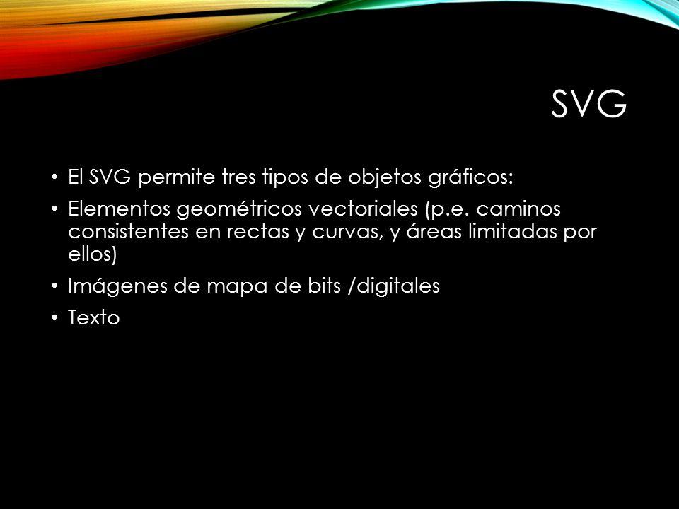 SVG El SVG permite tres tipos de objetos gráficos: Elementos geométricos vectoriales (p.e.