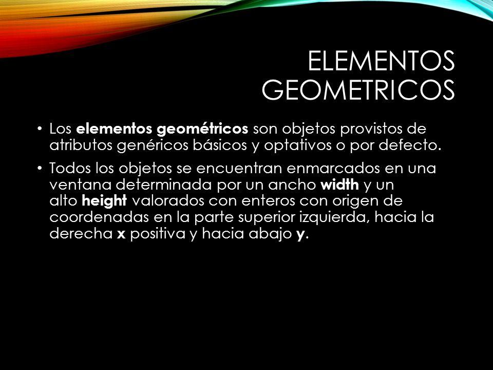 ELEMENTOS GEOMETRICOS Los elementos geométricos son objetos provistos de atributos genéricos básicos y optativos o por defecto.