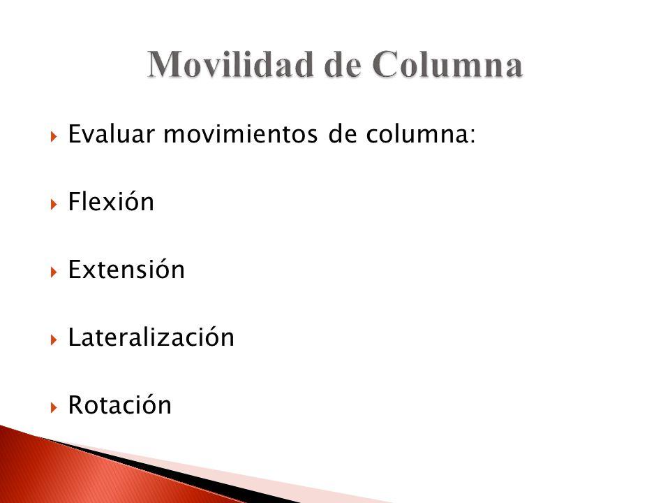Evaluar movimientos de columna: Flexión Extensión Lateralización Rotación