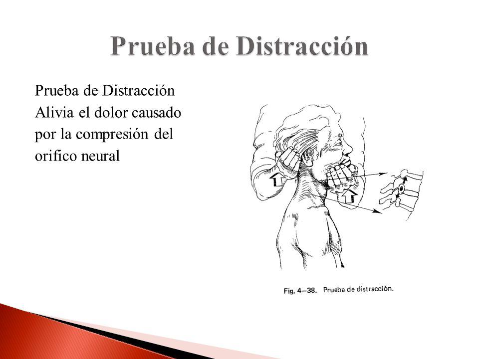 Prueba de Distracción Alivia el dolor causado por la compresión del orifico neural