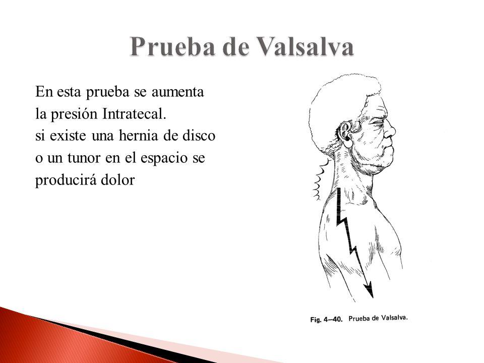 En esta prueba se aumenta la presión Intratecal. si existe una hernia de disco o un tunor en el espacio se producirá dolor