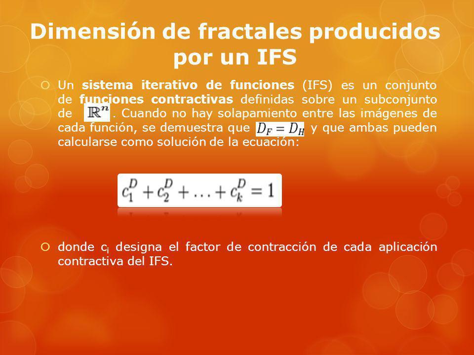 Dimensión de fractales producidos por un IFS Un sistema iterativo de funciones (IFS) es un conjunto de funciones contractivas definidas sobre un subconjunto de.