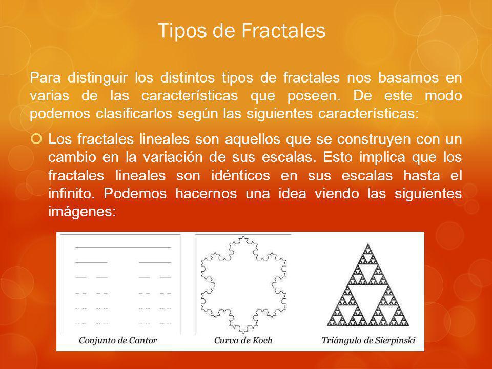 Para distinguir los distintos tipos de fractales nos basamos en varias de las características que poseen.