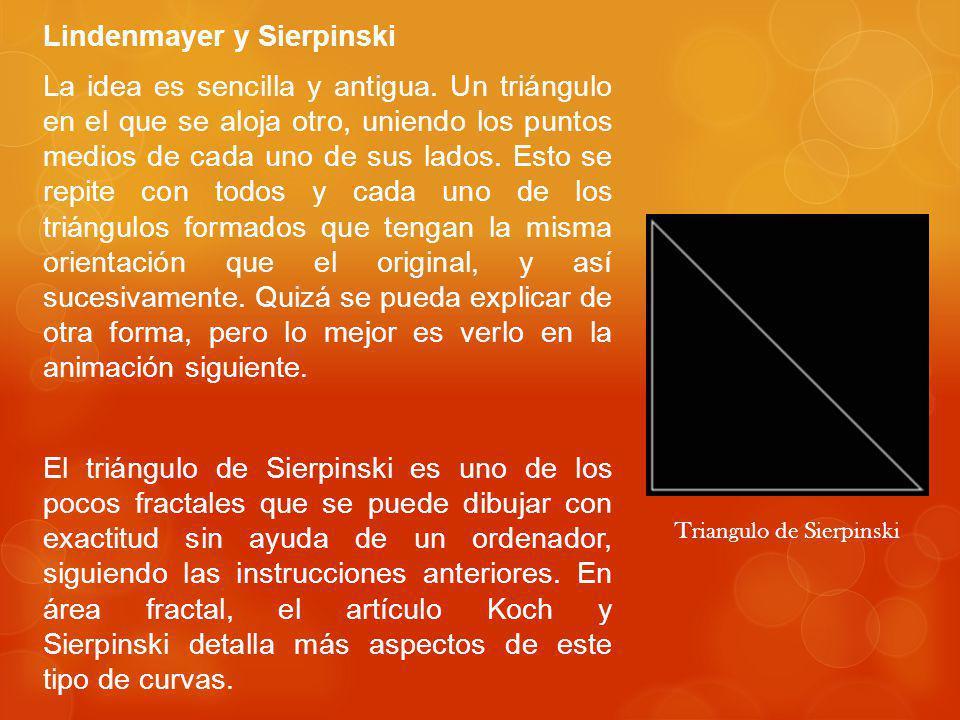 Lindenmayer y Sierpinski La idea es sencilla y antigua.