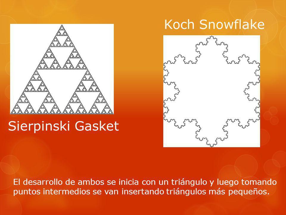 Sierpinski Gasket Koch Snowflake El desarrollo de ambos se inicia con un triángulo y luego tomando puntos intermedios se van insertando triángulos más pequeños.