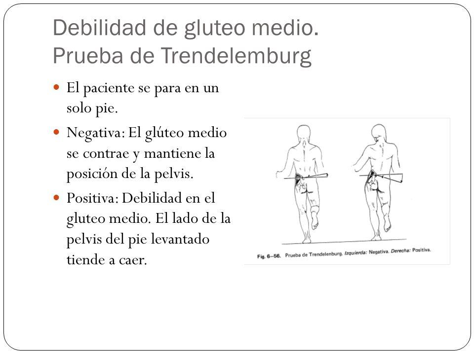 Debilidad de gluteo medio. Prueba de Trendelemburg El paciente se para en un solo pie. Negativa: El glúteo medio se contrae y mantiene la posición de
