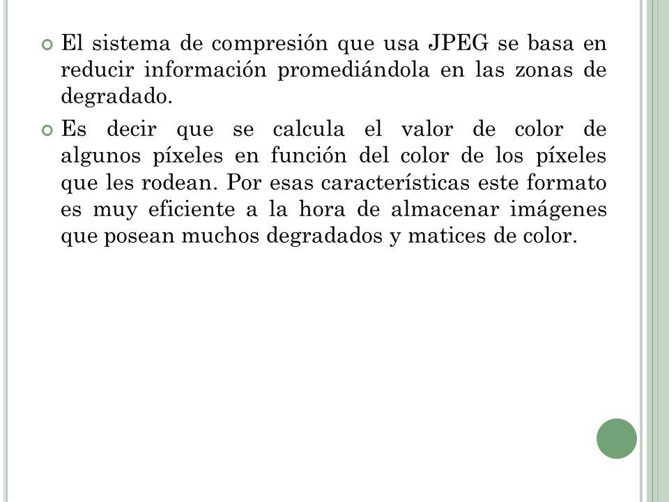 El sistema de compresión que usa JPEG se basa en reducir información promediándola en las zonas de degradado. Es decir que se calcula el valor de colo