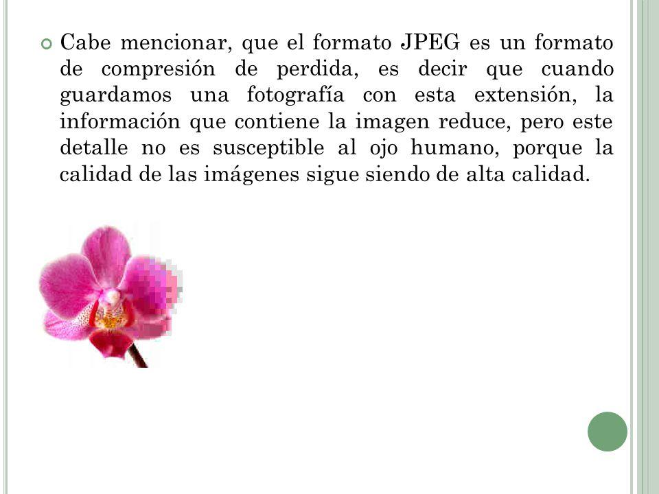 Cabe mencionar, que el formato JPEG es un formato de compresión de perdida, es decir que cuando guardamos una fotografía con esta extensión, la inform