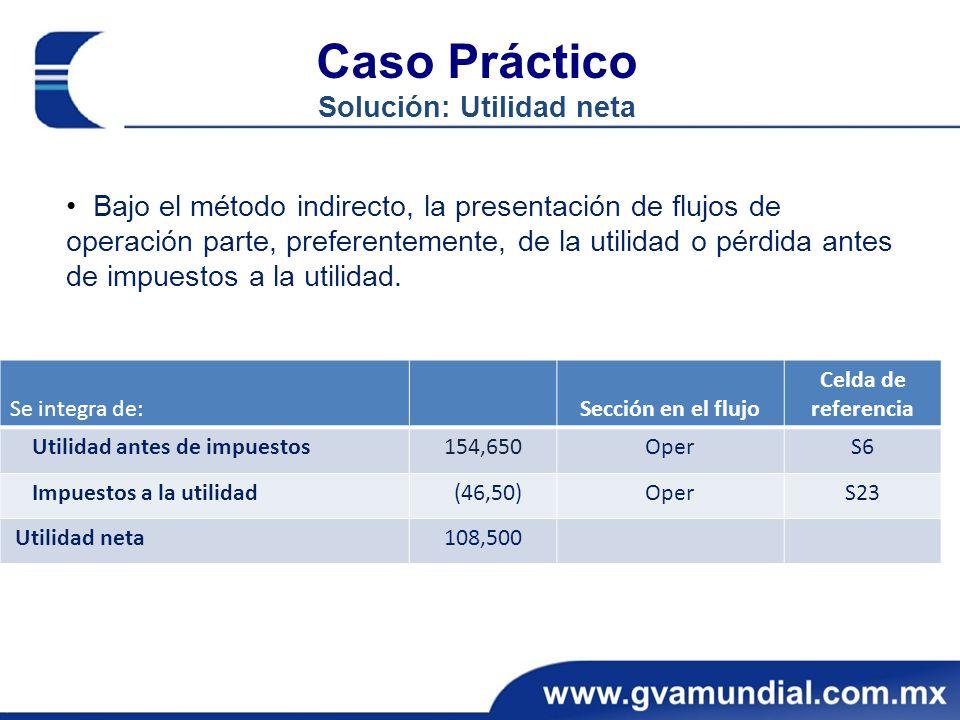 Caso Práctico Solución: Utilidad neta Bajo el método indirecto, la presentación de flujos de operación parte, preferentemente, de la utilidad o pérdid