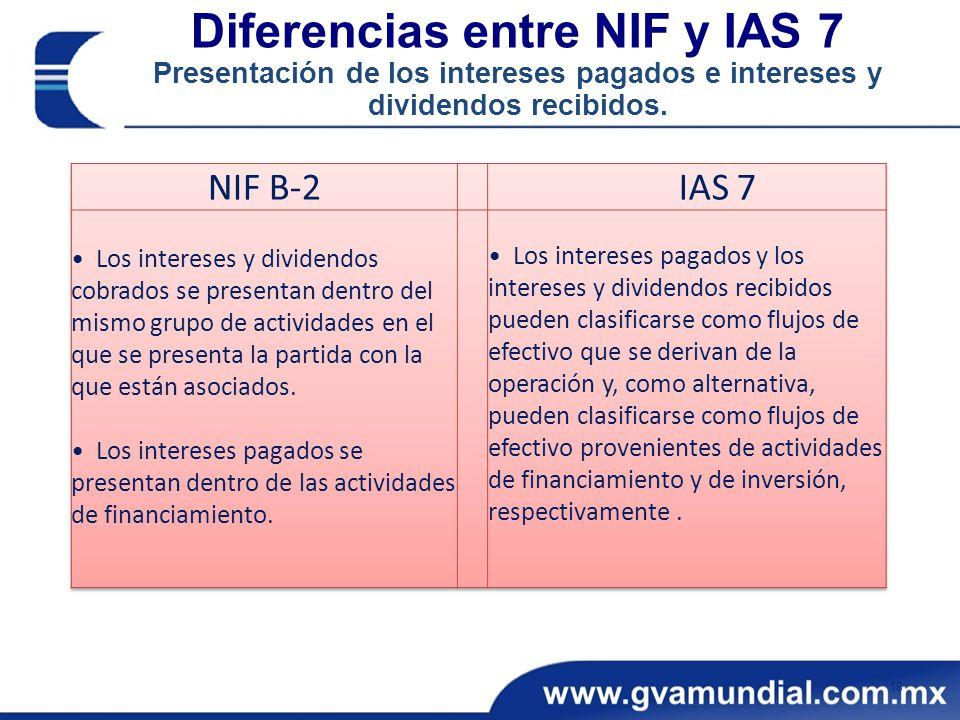 Diferencias entre NIF y IAS 7 Presentación de los intereses pagados e intereses y dividendos recibidos. 18