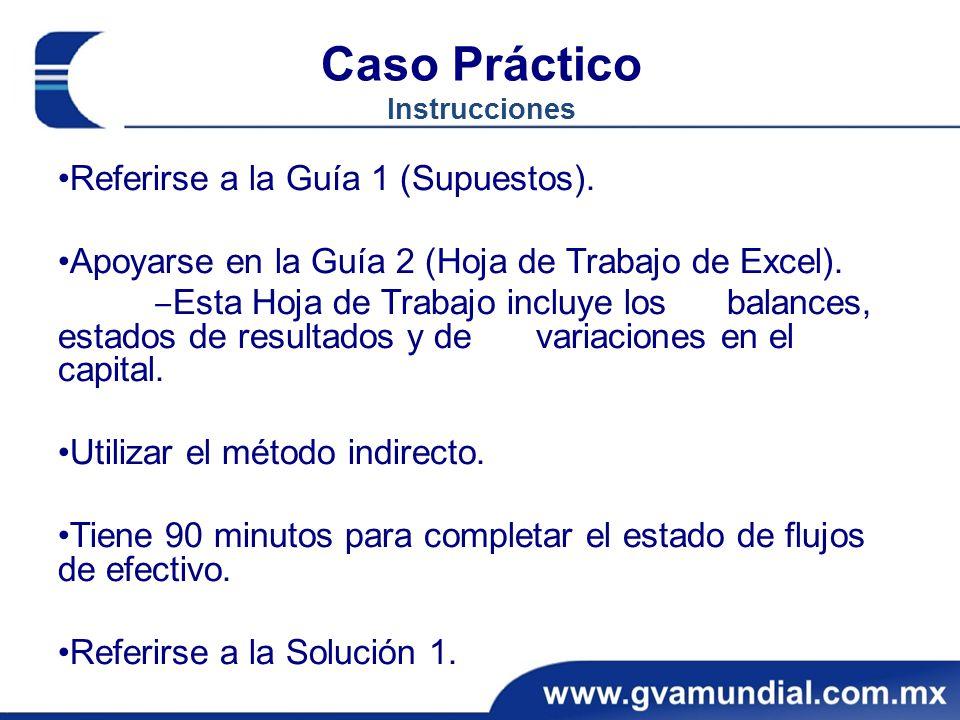 Caso Práctico Instrucciones Referirse a la Guía 1 (Supuestos). Apoyarse en la Guía 2 (Hoja de Trabajo de Excel). Esta Hoja de Trabajo incluye los bala