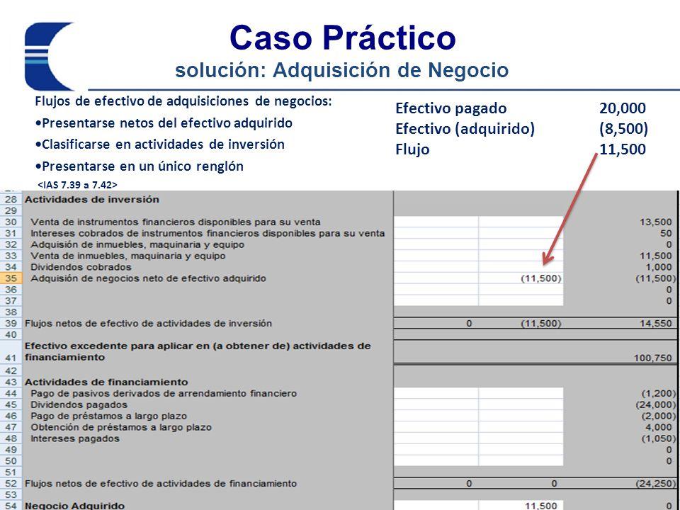 Caso Práctico solución: Adquisición de Negocio Flujos de efectivo de adquisiciones de negocios: Presentarse netos del efectivo adquirido Clasificarse