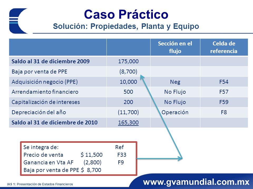 Caso Práctico Solución: Propiedades, Planta y Equipo IAS 1: Presentación de Estados Financieros Sección en el flujo Celda de referencia Saldo al 31 de