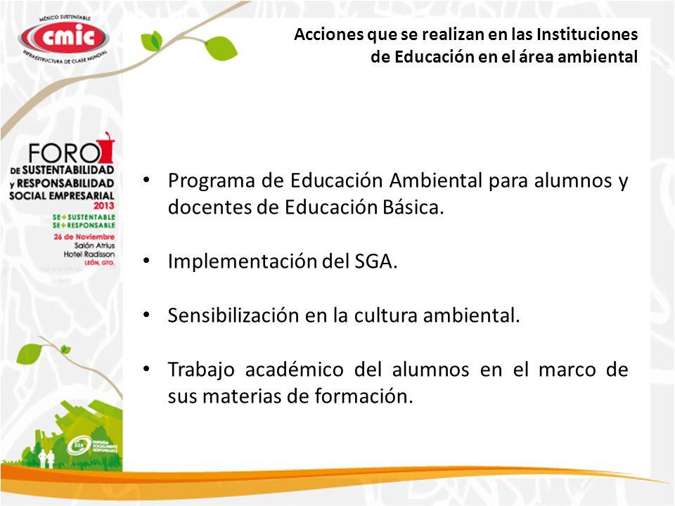 Acciones que se realizan en las Instituciones de Educación en el área ambiental Programa de Educación Ambiental para alumnos y docentes de Educación Básica.