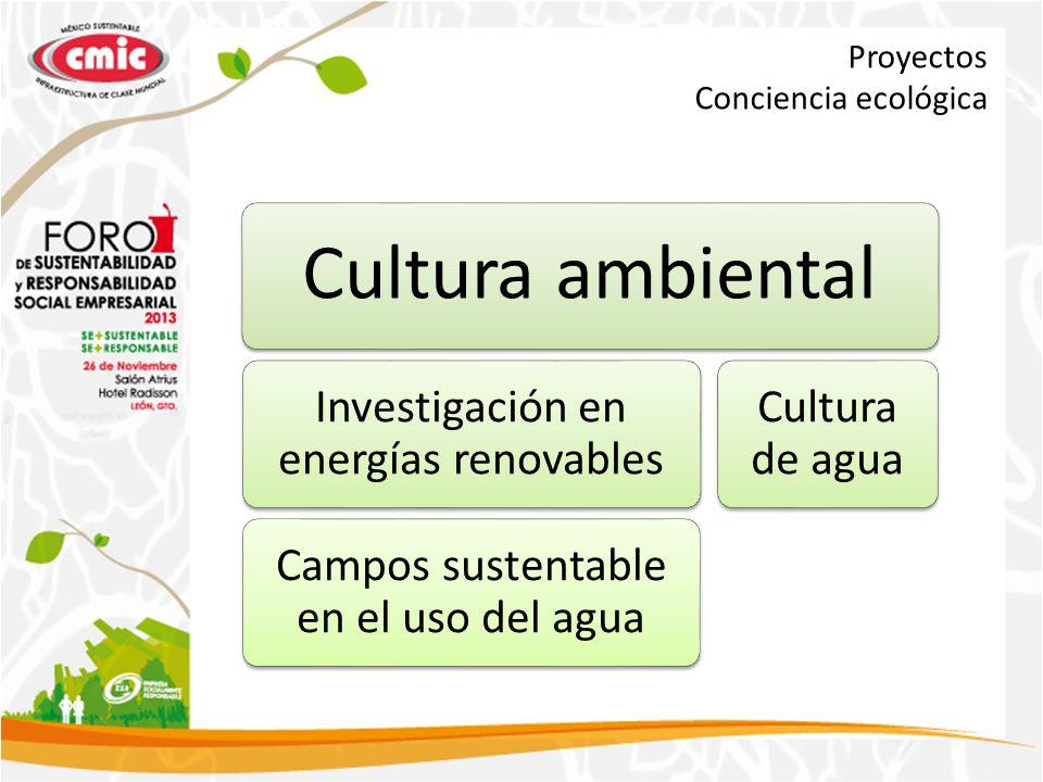 Proyectos Conciencia ecológica Cultura ambiental Investigación en energías renovables Campos sustentable en el uso del agua Cultura de agua