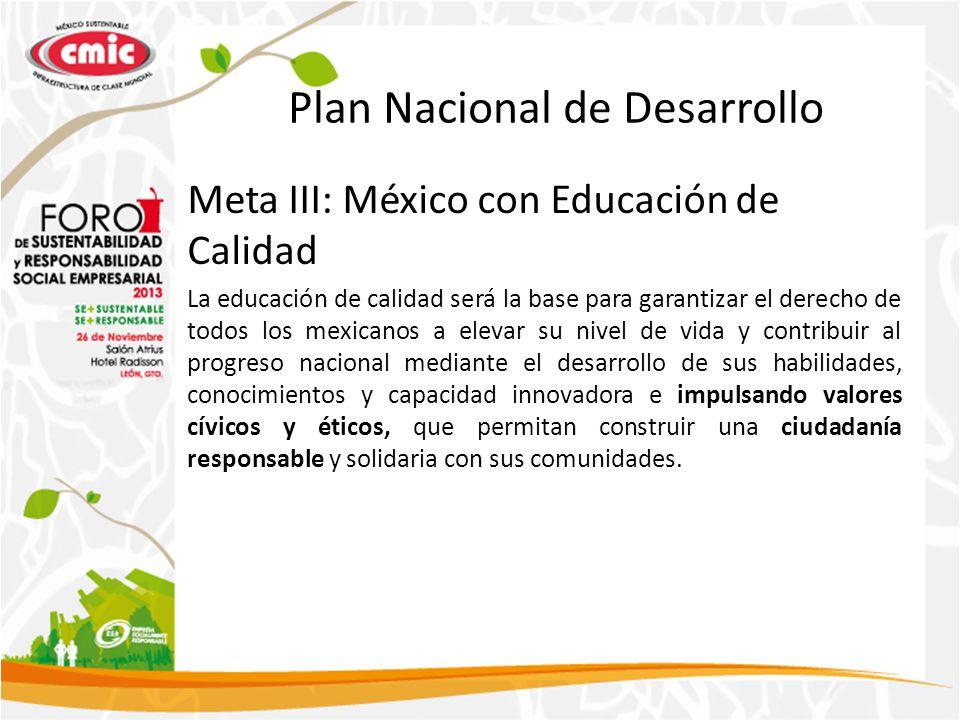 Plan Nacional de Desarrollo Meta III: México con Educación de Calidad La educación de calidad será la base para garantizar el derecho de todos los m