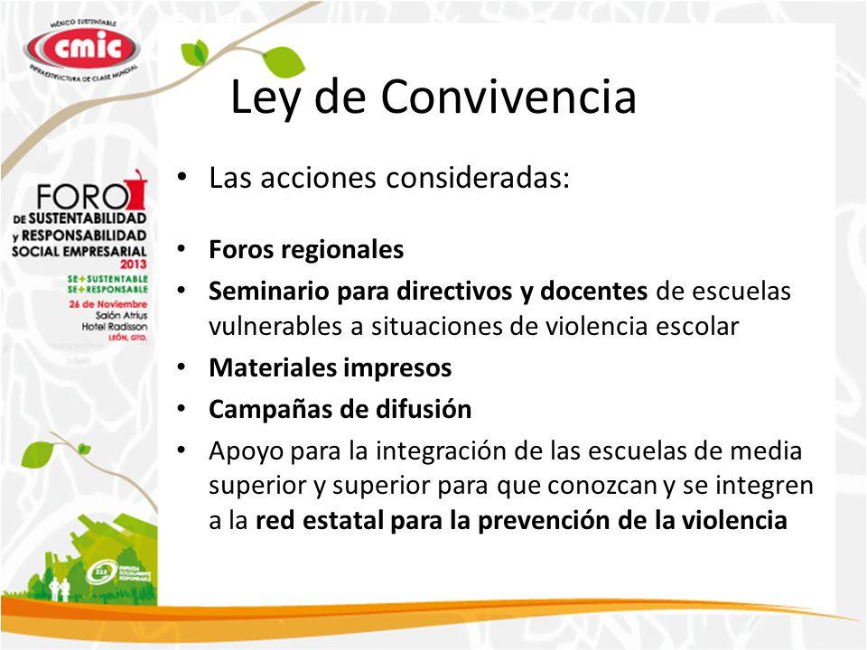 Ley de Convivencia Las acciones consideradas: Foros regionales Seminario para directivos y docentes de escuelas vulnerables a situaciones de violencia