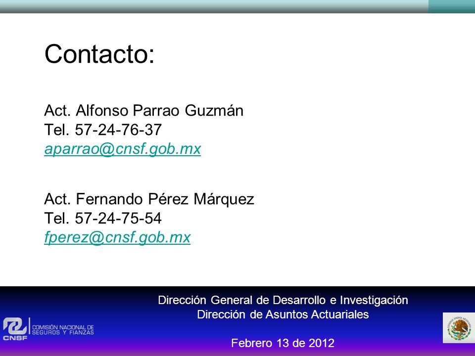 Dirección General de Desarrollo e Investigación Dirección de Asuntos Actuariales Febrero 13 de 2012 Contacto: Act. Alfonso Parrao Guzmán Tel. 57-24-76