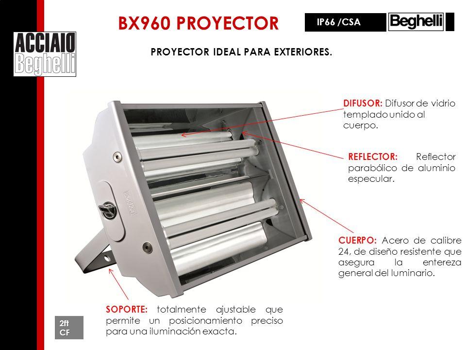 BX960 PROYECTOR IP66 /CSA SOPORTE: totalmente ajustable que permite un posicionamiento preciso para una iluminación exacta. PROYECTOR IDEAL PARA EXTER
