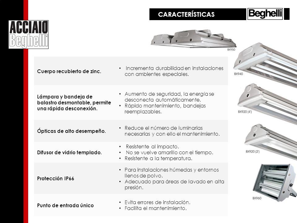CARACTERÍSTICAS Cuerpo recubierto de zinc. Incrementa durabilidad en instalaciones con ambientes especiales. Lámpara y bandeja de balastro desmontable