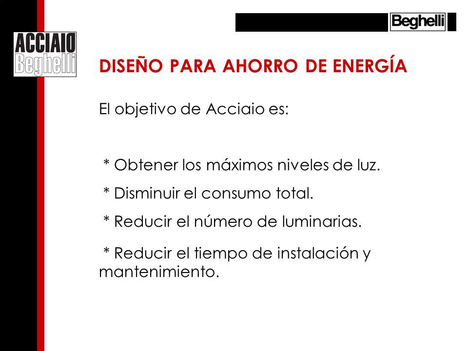 El objetivo de Acciaio es: * Obtener los máximos niveles de luz. * Disminuir el consumo total. * Reducir el número de luminarias. * Reducir el tiempo