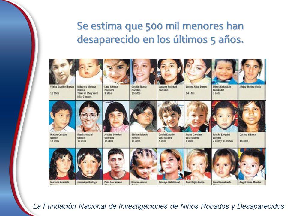 Se estima que 500 mil menores han desaparecido en los últimos 5 años.