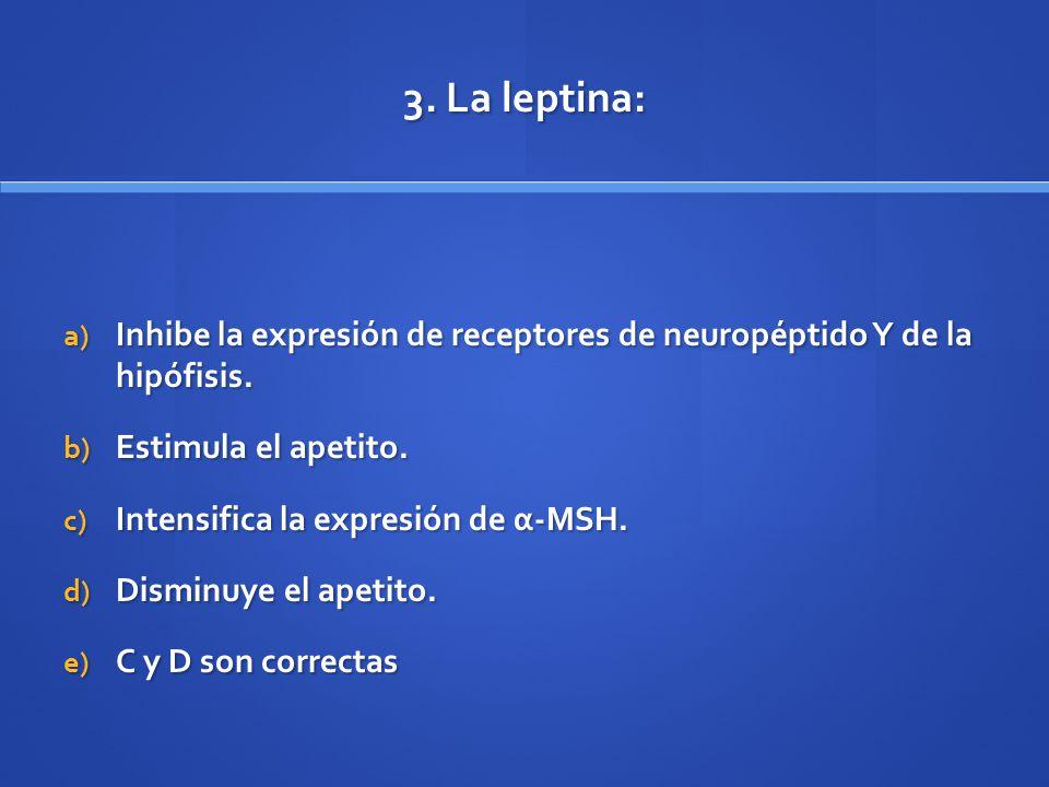 3. La leptina: a) Inhibe la expresión de receptores de neuropéptido Y de la hipófisis. b) Estimula el apetito. c) Intensifica la expresión de α-MSH. d