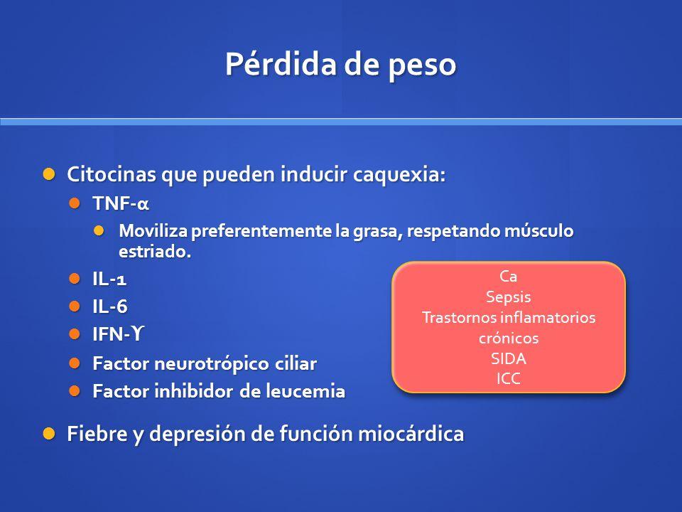 Pérdida de peso Citocinas que pueden inducir caquexia: Citocinas que pueden inducir caquexia: TNF-α TNF-α Moviliza preferentemente la grasa, respetand