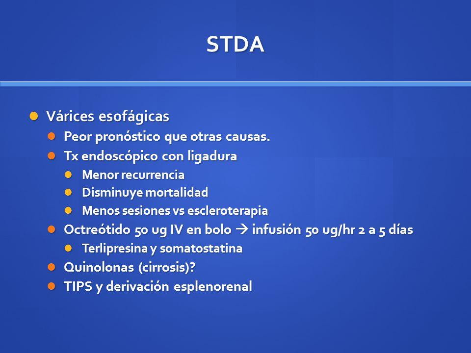 STDA Várices esofágicas Várices esofágicas Peor pronóstico que otras causas. Peor pronóstico que otras causas. Tx endoscópico con ligadura Tx endoscóp