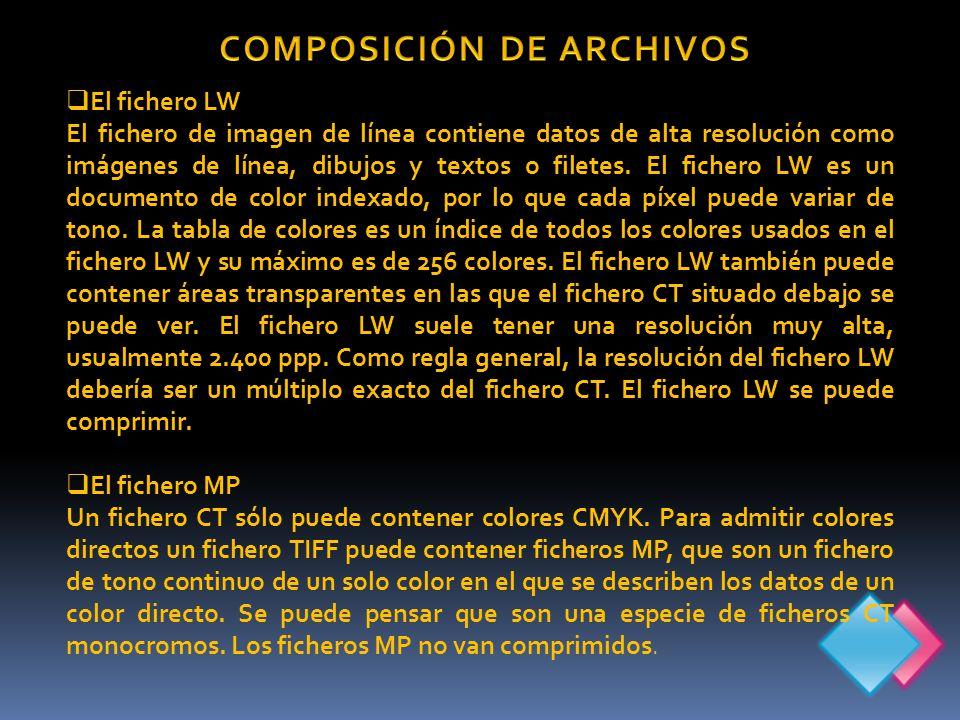 El fichero LW El fichero de imagen de línea contiene datos de alta resolución como imágenes de línea, dibujos y textos o filetes.