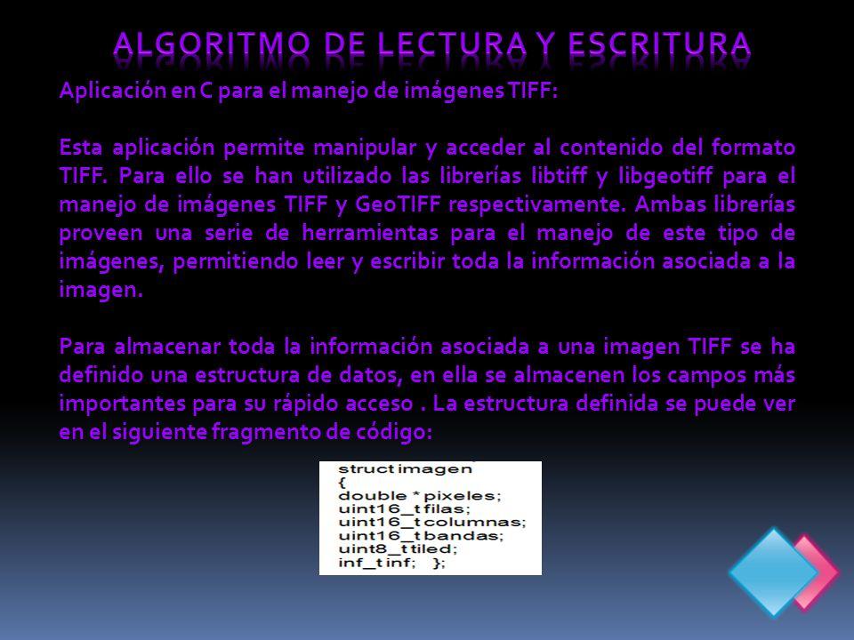 Aplicación en C para el manejo de imágenes TIFF: Esta aplicación permite manipular y acceder al contenido del formato TIFF.
