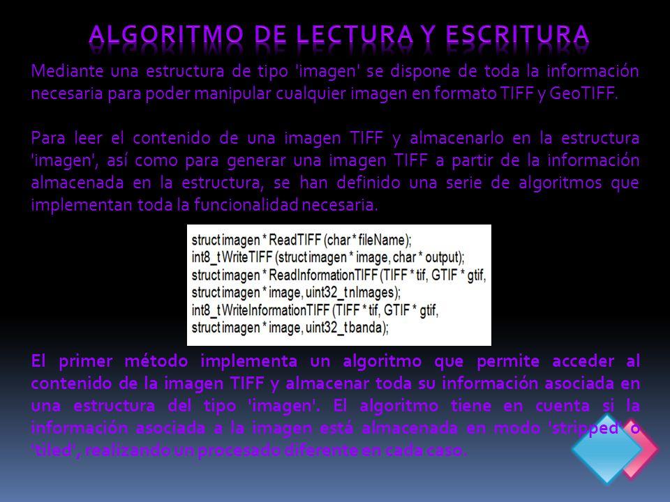 Mediante una estructura de tipo imagen se dispone de toda la información necesaria para poder manipular cualquier imagen en formato TIFF y GeoTIFF.