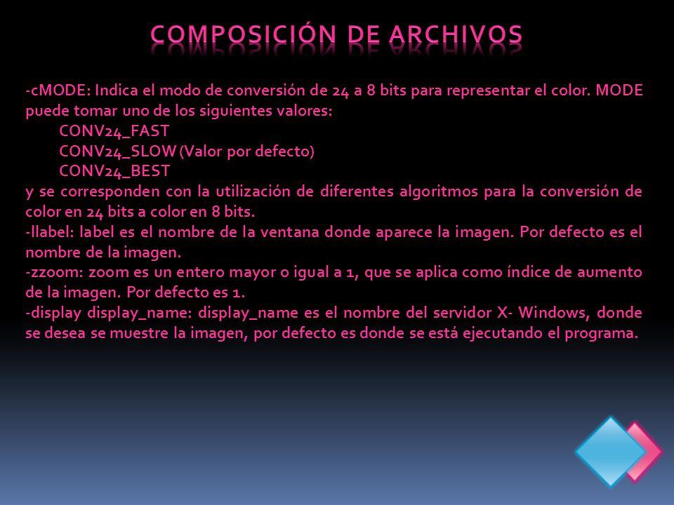 -cMODE: Indica el modo de conversión de 24 a 8 bits para representar el color.