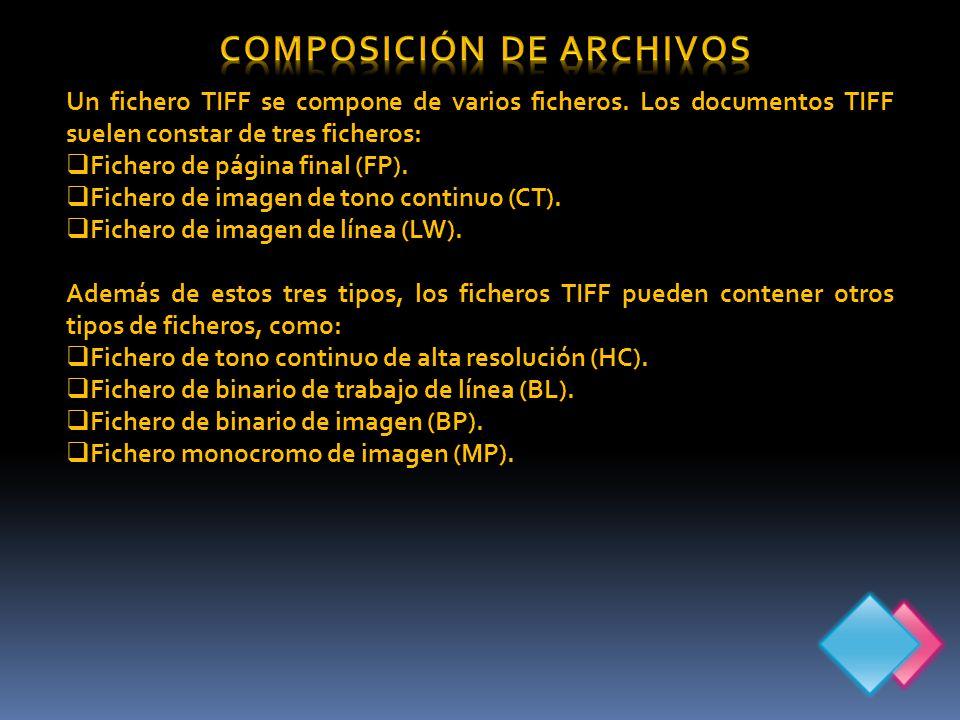 Un fichero TIFF se compone de varios ficheros.