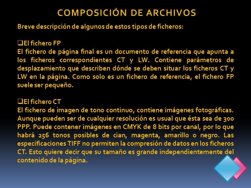 Breve descripción de algunos de estos tipos de ficheros: El fichero FP El fichero de página final es un documento de referencia que apunta a los ficheros correspondientes CT y LW.