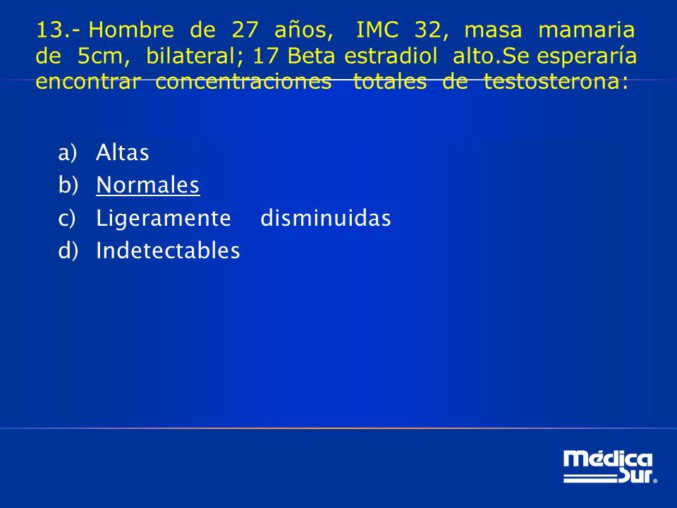 13.- Hombre de 27 años, IMC 32, masa mamaria de 5cm, bilateral; 17 Beta estradiol alto.Se esperaría encontrar concentraciones totales de testosterona: a)Altas b)Normales c)Ligeramente disminuidas d)Indetectables