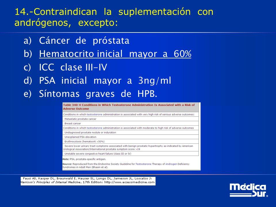 14.-Contraindican la suplementación con andrógenos, excepto: a)Cáncer de próstata b)Hematocrito inicial mayor a 60% c)ICC clase III-IV d)PSA inicial mayor a 3ng/ml e)Síntomas graves de HPB.